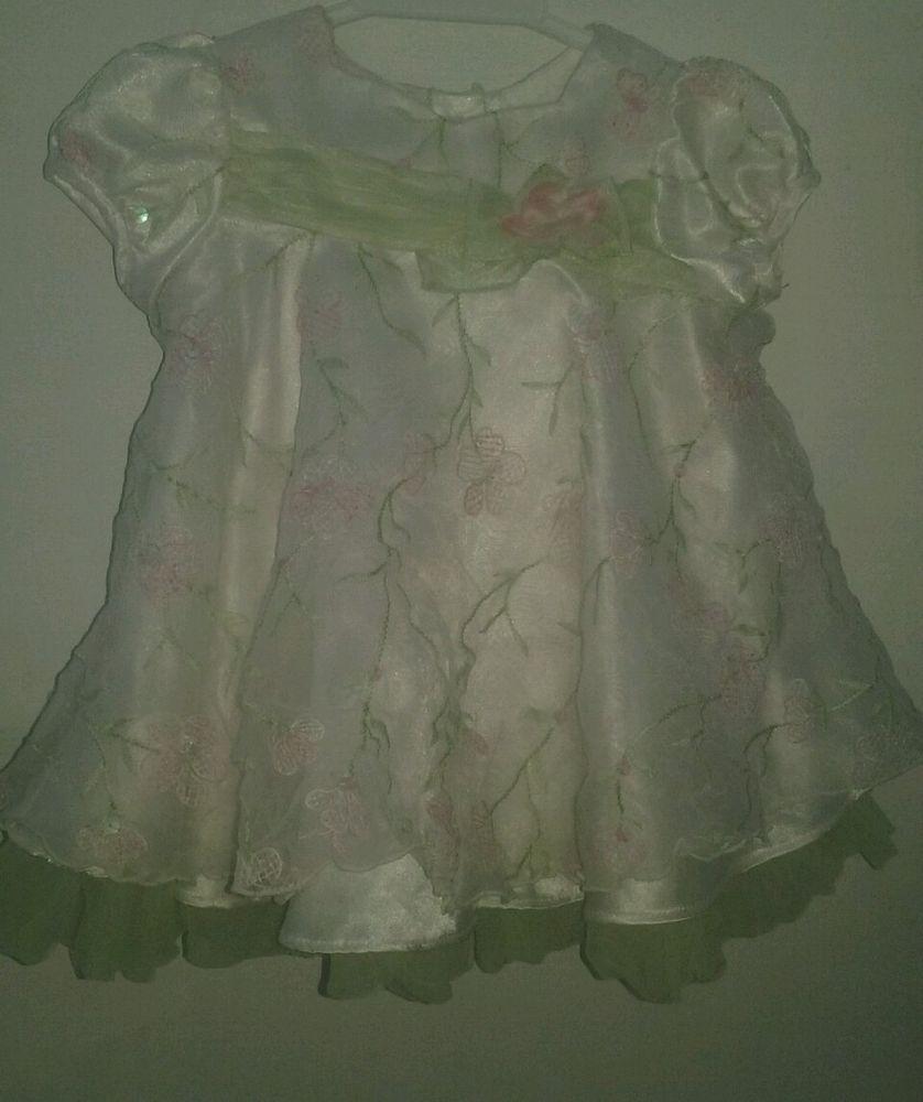 Bonnie Baby Girl Fancy Dress 6 9 Month White Green Pink Short