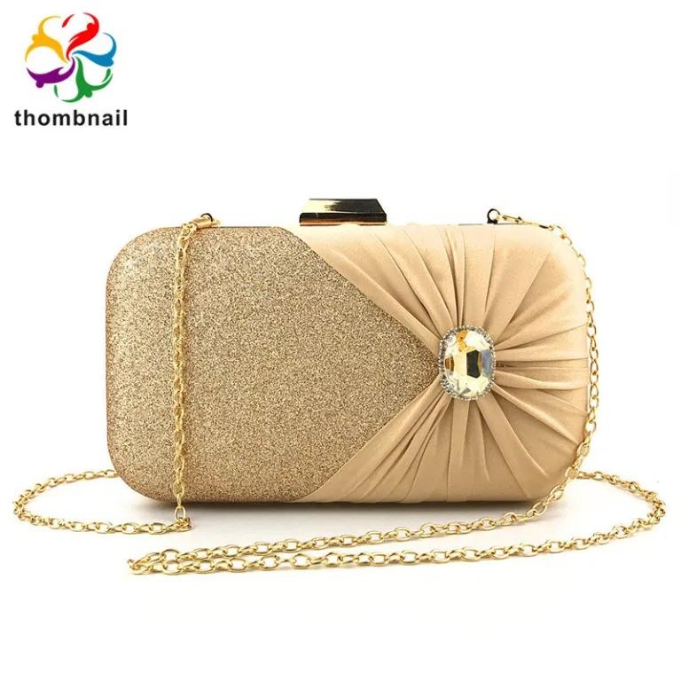Golden Shiny Glitter Bow Women Clutch Evening Bag Bridal Diamond Handbags  Wedding Crystal B…   Women's clutches & evening bags, Gold evening bag, Evening  clutch bag