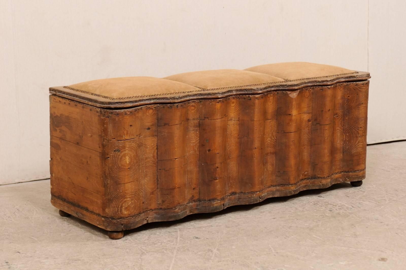 Italian Early 19th Century Undulating Wood Bench With Storage And
