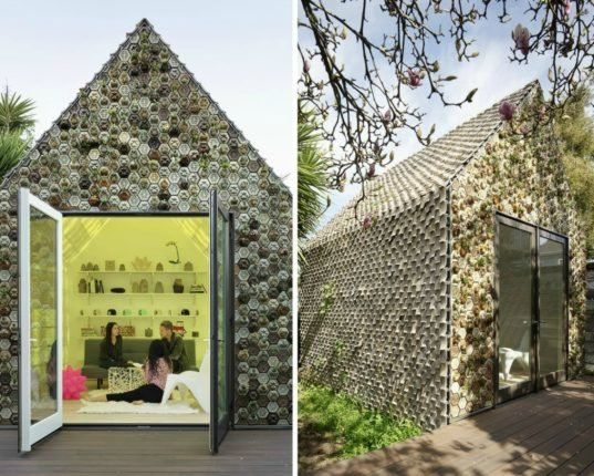 This 3D-printed tiny house is clad with hundreds of plant-growing