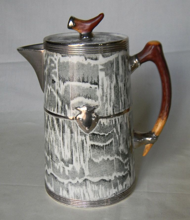 Circa 1934 Faux Bois Black English Transferware Coffee Hot Water Pot Silver Shield Wood Grain Antler Shaped Details