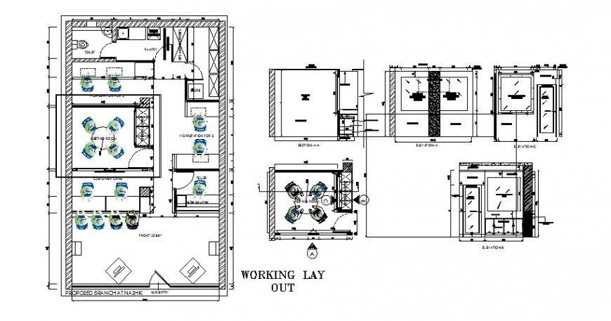 Working Layout Plan With Furniture Of Nasik Bank Branch Dwg File