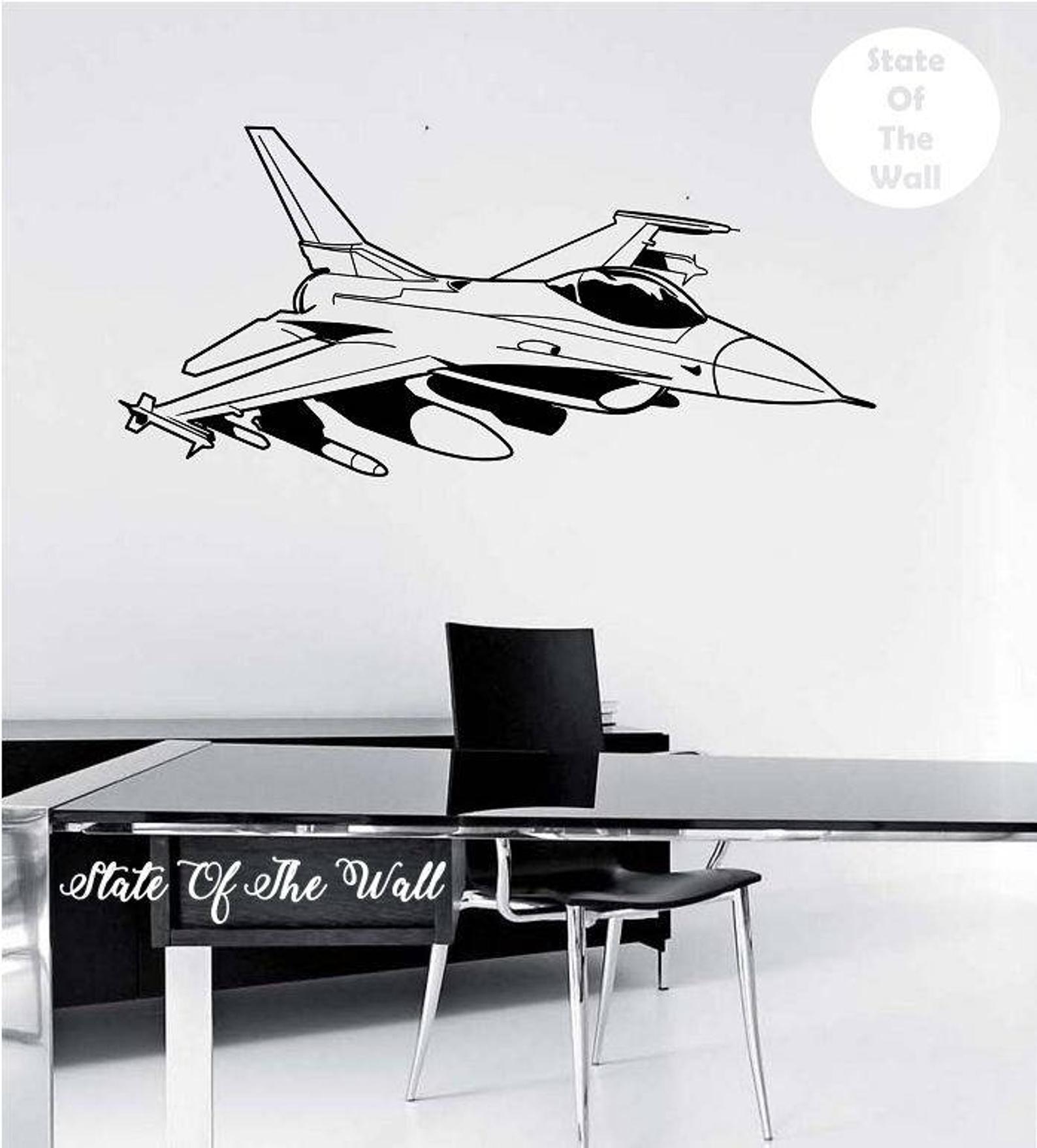 Fighter Jet Wall Decal Sticker Art Decor Bedroom Design Mural Etsy Kids Room Murals Wall Decals Wall Decal Sticker