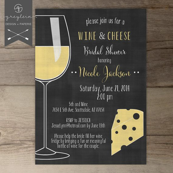 Wine And Cheese Invitations  Chalkboard  Dinner Party Invites