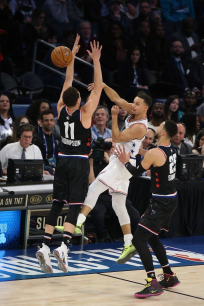 0a2c24a5fac80a Stephen Curry of Team Giannis passes the ball against Team LeBron during  the 2019 NBA AllStar