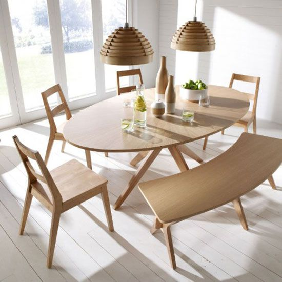 Malun Contemporary White Oak Finish Oval Shape Dining Table