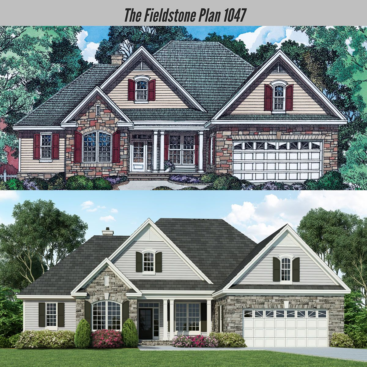 Home Addition Plans: A Fresh New Look For The Fieldstone Plan 1047