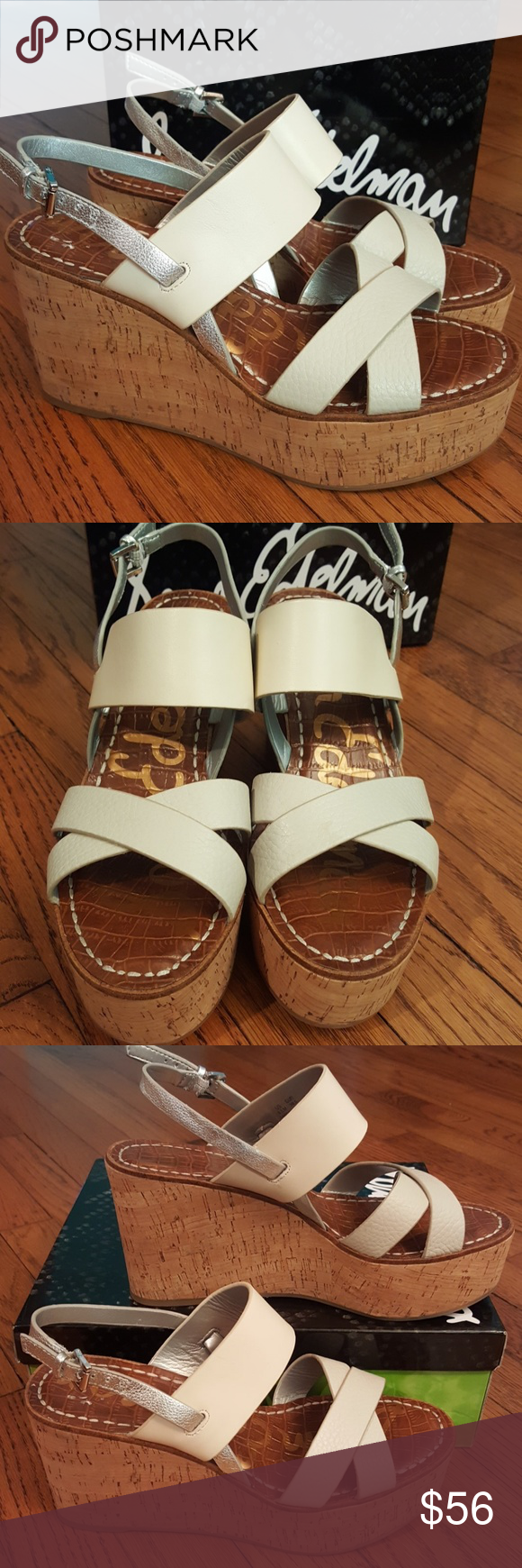 f4656c06115 New Sam Edelman Destiny Wedge Sandal Leather cork wedge sandals