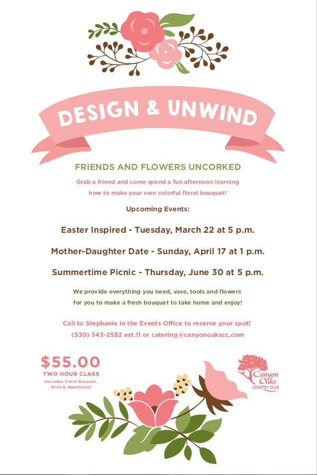 design and unwind  floral class event flyer poster