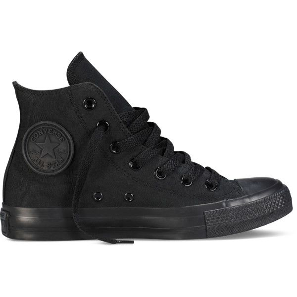 Converse Chuck Taylor All Star Classic Colors – black Sneakers (€49) ❤ liked on Polyvore featuring shoes, sneakers, converse, footwear, black, black sneakers, black hi top sneakers, rocker shoes, star shoes and hi tops