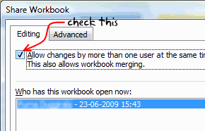 excel workbook sharing options to do lists project management