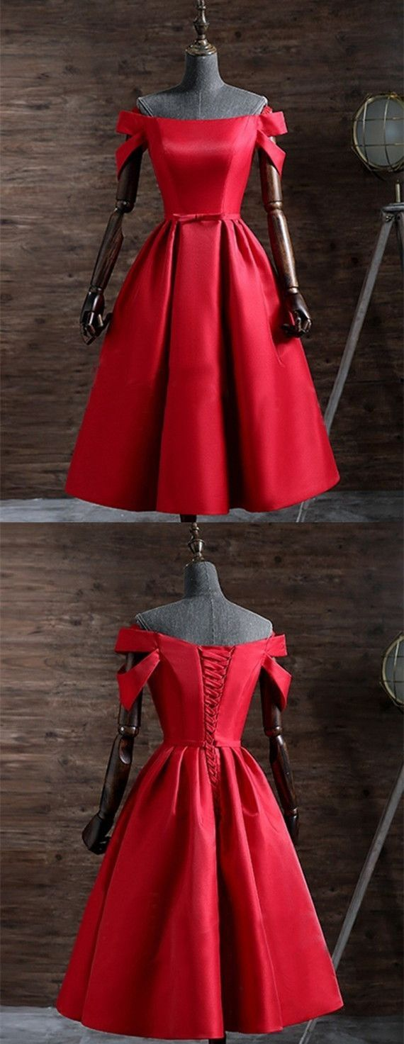 Modern off the shoulder short sleeves laceup short red prom dress