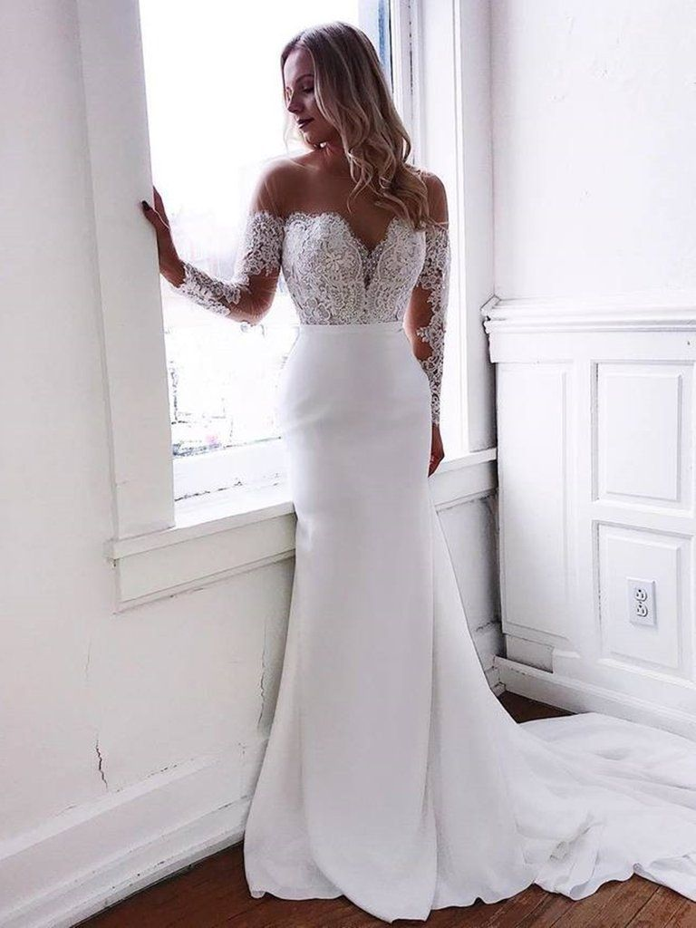 Round Neck Mermaid Lace Top White Long Prom Wedding Dresses With Train Mermaid White Lace Formal Dresses Mermaid White Evening Dresses Prom Dresses Long Mermaid Wedding Dress Chiffon White Evening Dress [ 1024 x 768 Pixel ]