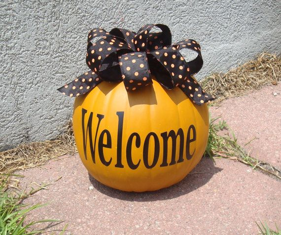 Fall Halloween Pumpkin personalized with ribbon Initial Welcome Monogram name $15 #fall #personalized #custom #pumpkin