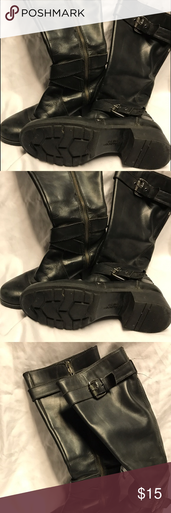 Sz 5 boots Size 5 well loved knee high boots with plenty of walkin (or dancin) left in them. Inner zip up and ankle buckles. Shoes Heeled Boots