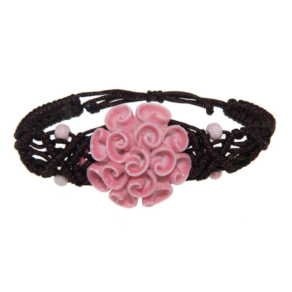 Handmade Pink Flower Bracelet