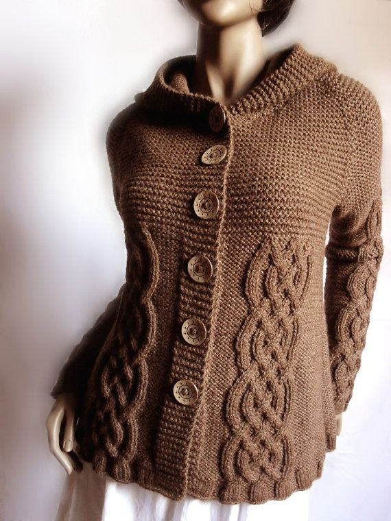 5ddc6523cbe62 Hand Knit Sweater Womens Cable Knit Cardigan Hooded Coat Chocolate Brown  Many Colors Available