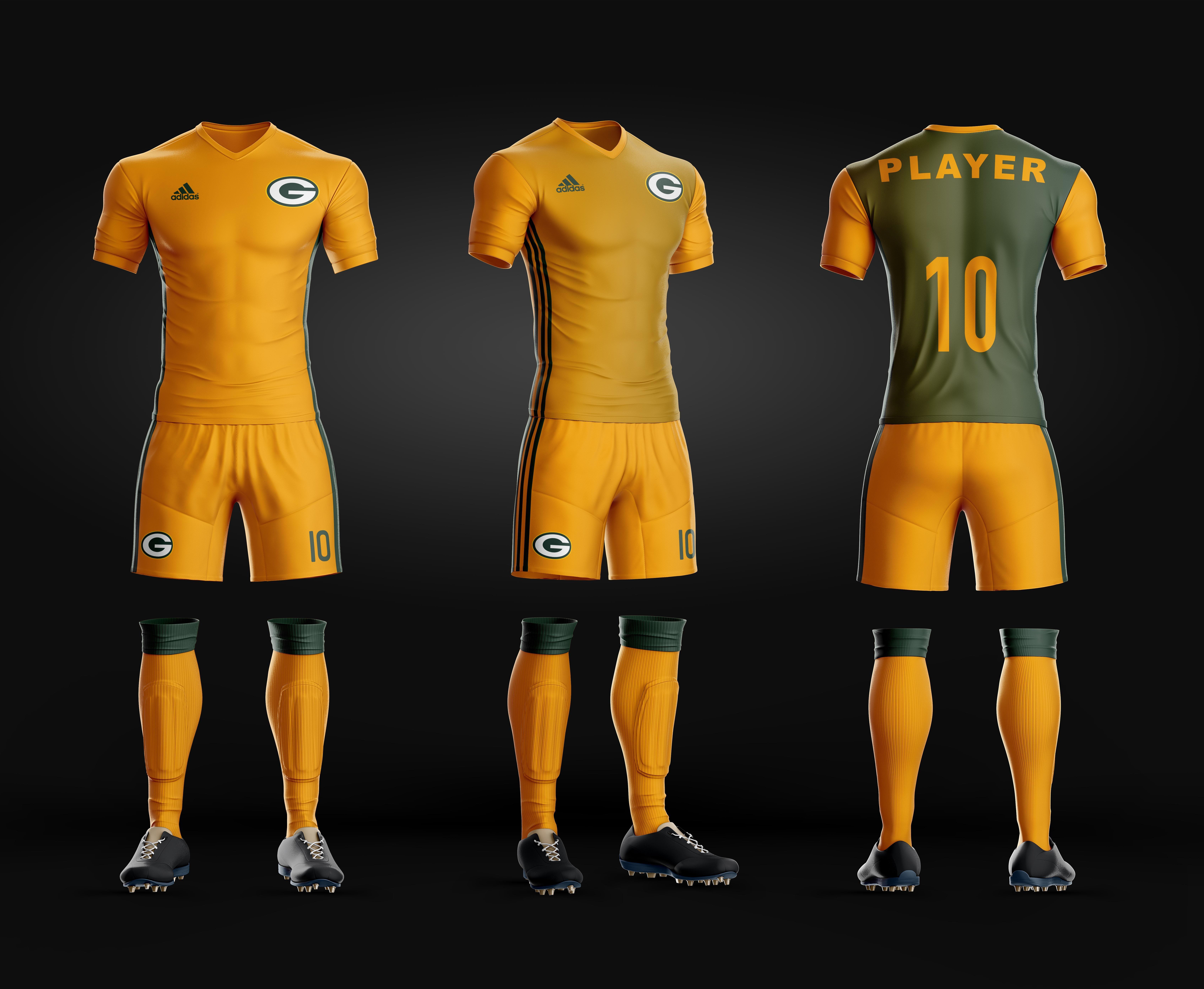 Soccer Uniform Green Bay Packers Away Uniform Remeras De Futbol Uniformes De Futbol Futbol