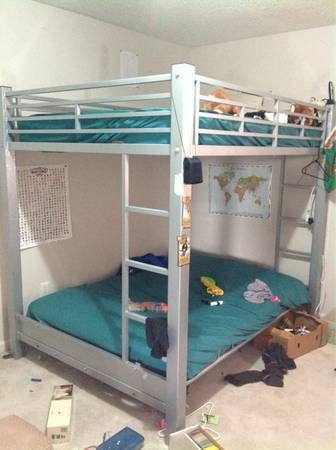 Sy Metal Bunk Bed 150 With Top Full Size Mattress And Bottom Futon