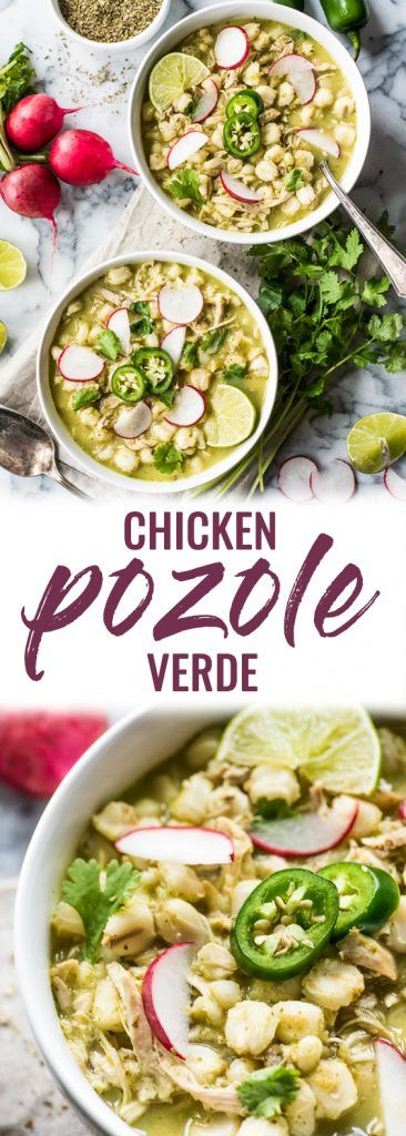 Chicken Pozole Verde - Isabel Eats {Easy Mexican Recipes} #easymexicanfoodrecipes