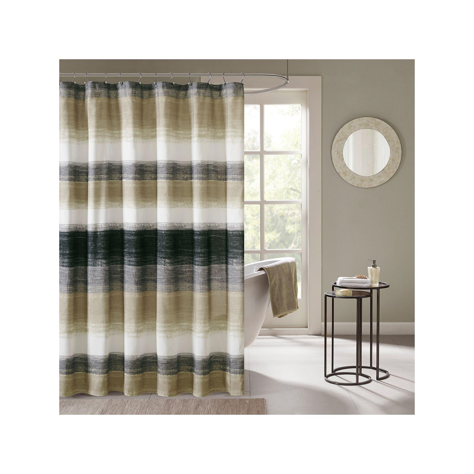 Madison Park Essentials Barrett Shower Curtain Beig Green Khaki
