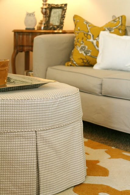 Camille S Front Room Update Round Ottoman Slipcovers