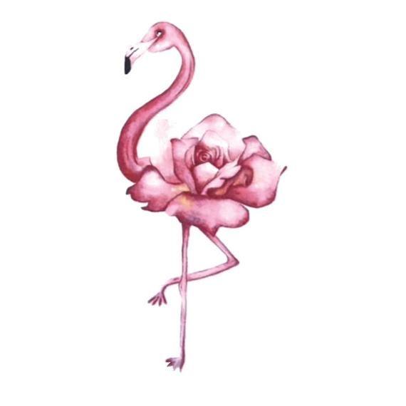 Pink Flamingo Rose temporary tattoo vintage Fake waterproof | Etsy