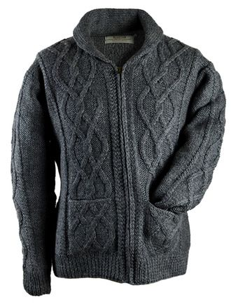 Premium Handknit Shawl Neck Zip Cardigan Grey   Wool