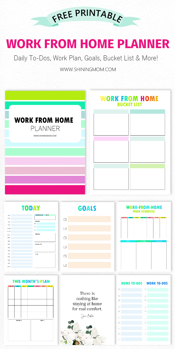 Free Printable Work From Home Planner Mom Planner Home Planner Simple Planner