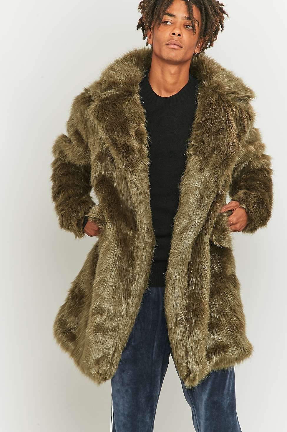 The New County Olive Faux Fur Long Coat