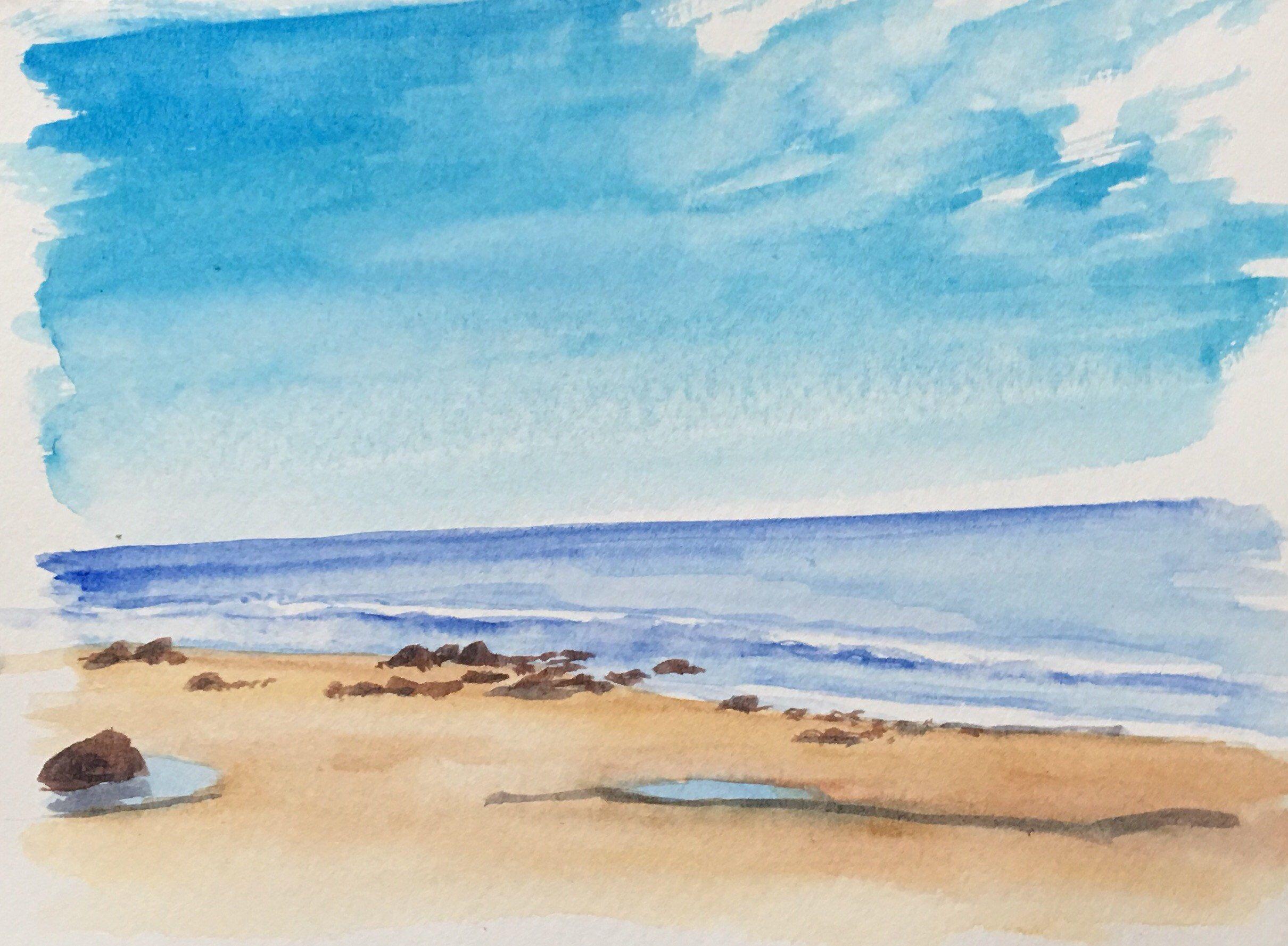 Abstract Sea In 2020 Watercolor Ocean Watercolor Paintings