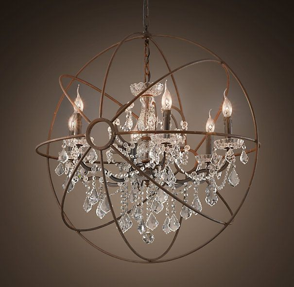 Foucault S Iron Orb Crystal Chandelier Rustic Medium Going In The Formal Dining Room