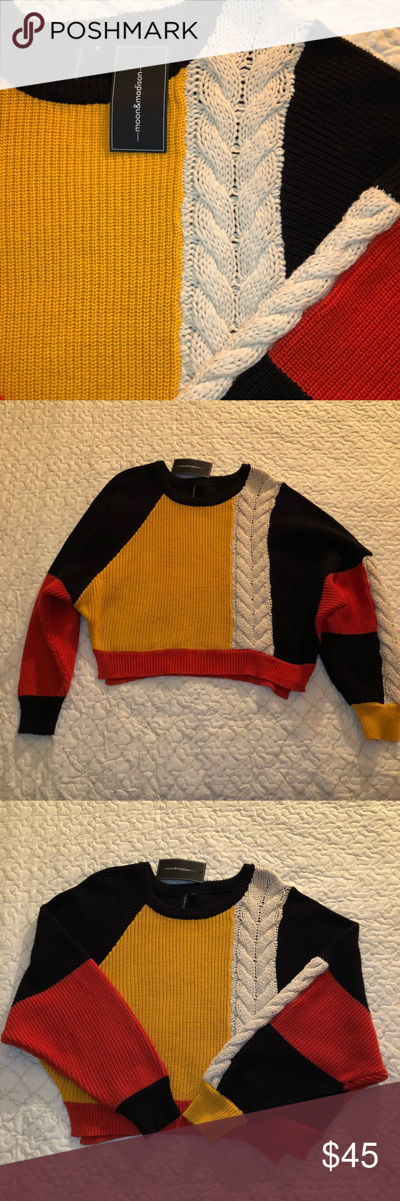 New Moon Madison Chunky Cropped Sweater Medium Nwt My Posh