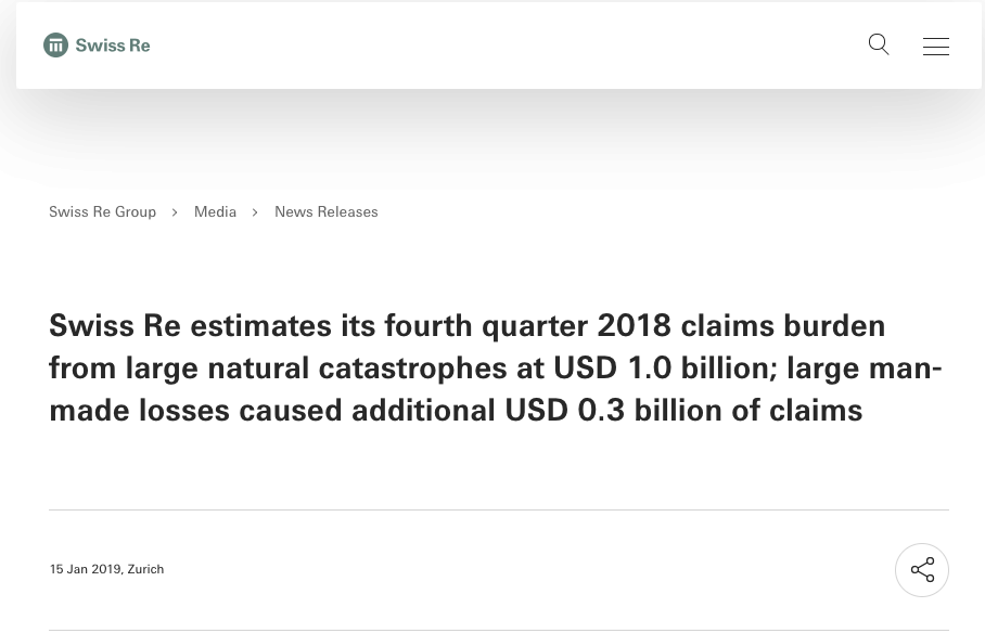 "Swiss Re. 2019. ""Swiss Re Estimates Its Fourth Quarter"