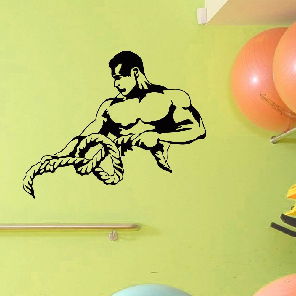 Bodybuilding Gym Rope Vinyl Wall Art Decal Sticker   Wall art decal ...