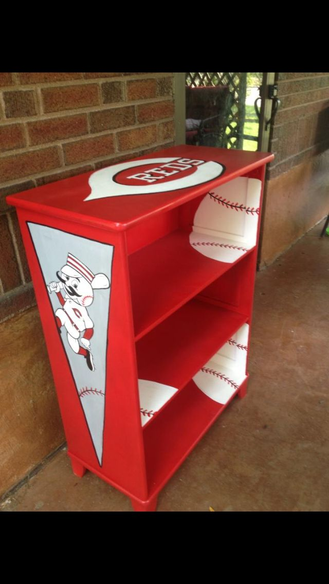 Cincinnati Reds Theme Hand Painted Book Shelf Jami
