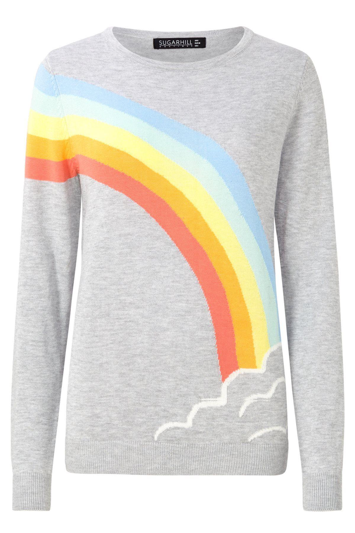 Nita Rainbow & Cloud Jumper Grey Marl / Rainbow £44.00