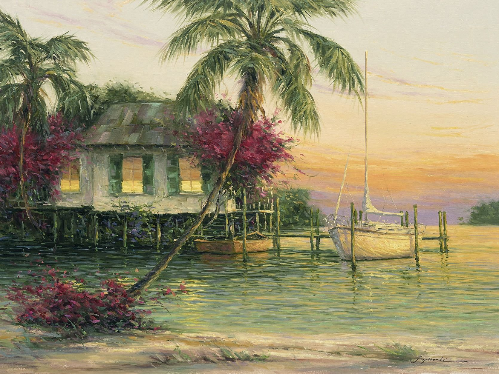 Tangerine Sun by Martin Figlinski, Oil, 30 x 40.#cottage #coastalcottage #cottagedecor #floridadecor #beachcottage #oilpainting #dailypaintworks  #interiordesign #decor #coastalliving #bahamas  #cottageart #Cottagestyle #beachcottage #figlinski  #cottagestyledecor #cottagecharm #cottagelife #cottageart #cottagehome #homedecor #oilpainting #artcollector  #coastalcottage  #coastaldecor #coastalliving #gifts #tommybahama #tommybahamahome #figlinski #tropicalart  #keywest