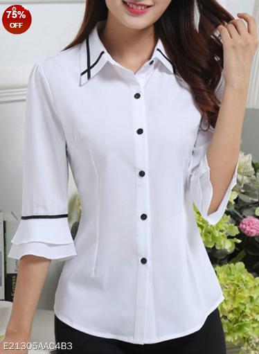 New Womens Uniform Short Sleeve Tops Shirt Ladies White