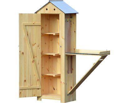 Dobar HolzGerätehaus mit Pflanztisch Natur 130 cm x 48 cm