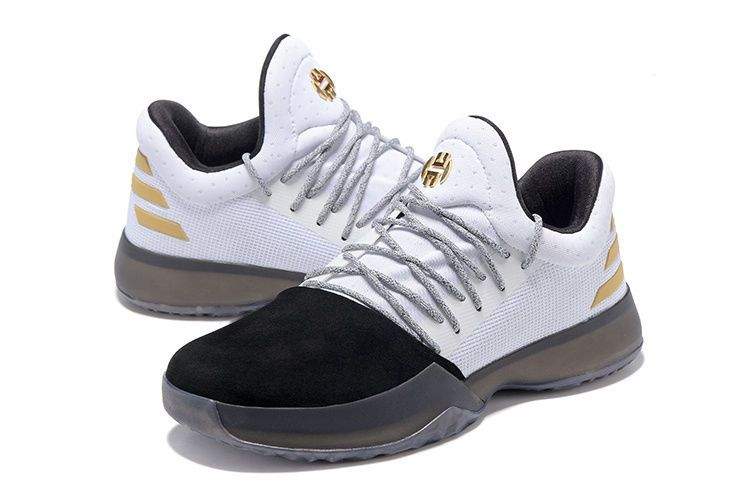 d9d9ae2f20d4 Adidas Harden Vol. 1 Black White Gold Basketball Shoes Size 10 in ...