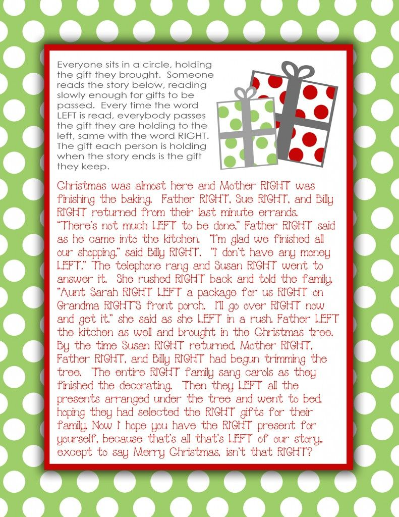 Gift Exchange Story {Free Printable} - I've done this at White ...