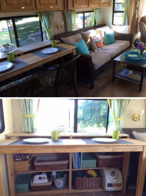 Rv Owners Who Replaced Their Dining Booth Dining Booth Remodeled Campers Camper Makeover