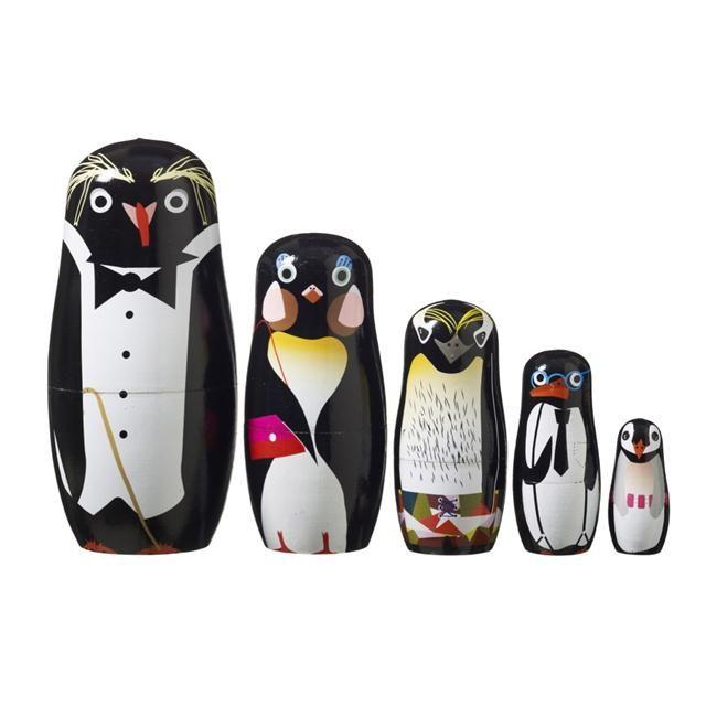 P-P-P-Pick up a Penguin! SuperLiving Penguin Family - Hand Painted Babushka family. | MonkeyMcCoy