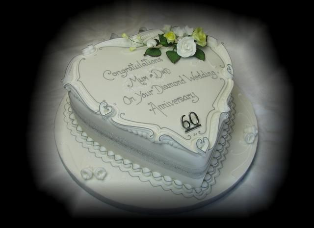 Diamon Shape 60th Wedding Anniversary Cakes