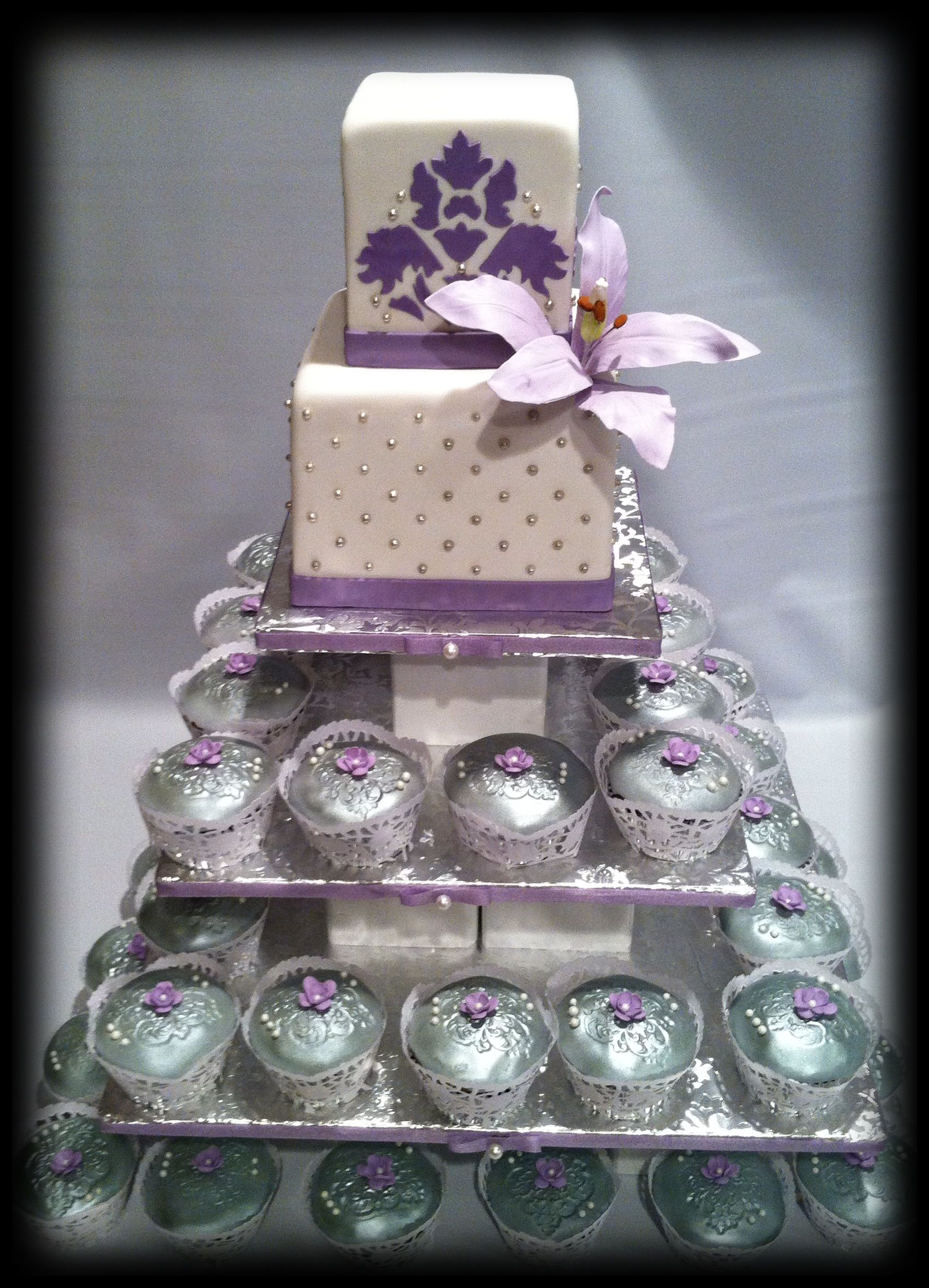 Wedding cake with silver embossed cupcakes cake pinterest