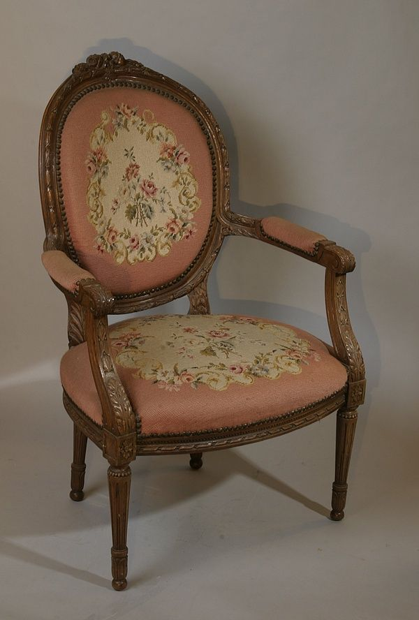 Louis XVI Needlepoint Chair - The Antique Traders - Antique Tiffany Lamps, Art Nouveau Lamps And Chandeliers, Antique