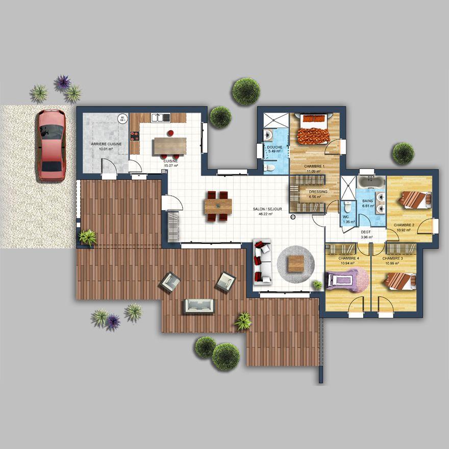 Découvrez cette Maison moderne toiture monopente Carquefou ! Depreux - plan de maisons modernes