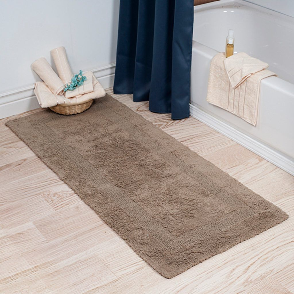 Step Out Of Your Tub And Into Luxury With The Cotton Reversible Long Bath Rug Super Soft High Pile Plush Loops Keep Feet Comfort