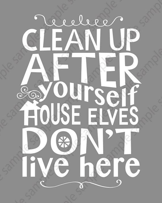 Kitchen rules sign PRINTABLE wall art House cleaning DIGITAL download print, Clean Up After Yourself House Elves Don't Live Here Gray poster #kitchenrules